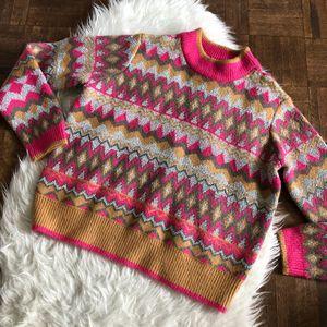 Marc New York M Sweater Pink Tan Geo Metallic NWT